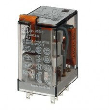 Миниатюрное универсальное электромеханическое реле; монтаж в розетку; 2CO 10A; контакты AgNi; катушка 230В АC; степень защиты RTI; опции: LED; упаковка 10 шт.