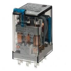 Миниатюрное универсальное электромеханическое реле; монтаж в розетку; 3CO 10A; контакты AgNi; катушка 125В DC; степень защиты RTI; опции: кнопка тест + LED + диод; упаковка 10 шт.