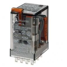 553480480054, Миниатюрное универсальное электромеханическое реле; монтаж в розетку; 4CO 7A; контакты AgNi; катушка 48В АC; степень защиты RTI; опции: кнопка тест + мех.индикатор + LED; упаковка 10 шт.