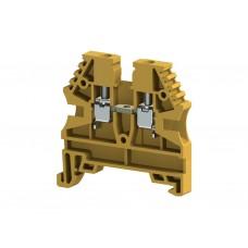 304123, Клеммник на DIN-рейку 2,5мм.кв. (желтый); AVK2,5 (упак 100)