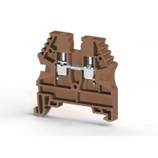304138, Клеммник на DIN-рейку 4мм.кв. (коричневый); AVK4 (упак 100)