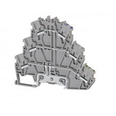 307189, Клеммник пружинный быстрозажимной (Push in) 2-хярусный, с конт. на DIN-рейку, 2,5 мм.кв., (серый); PYK2,5-2FT  (упак 30 шт)