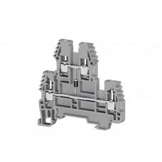 317219, Клеммник 2-х ярусный, 2,5 мм.кв., с диодом, (серый); PIK2,5ND-A (упак 20)