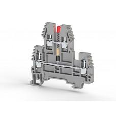 317719, Клеммник 2-х ярусный, 2,5 мм.кв., с индикацией 220 VAC, (серый); PIK2,5 NLD 220VAC (упак 20)
