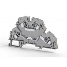 Клеммник 2-х ярусный пружинный 4мм.кв. (серый); YBK4-2F (упак. 50 шт.); 318109