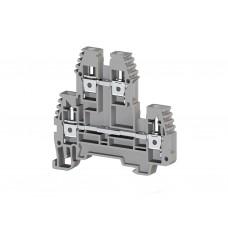 319109, Клеммник 2-х ярусный 4мм.кв. (серый); PIK4N (упак 100)