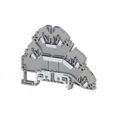 Клеммник пружинный 2-х ярусный с контактом на рейку, 2,5 мм.кв., (серый); YBK 2,5-2 FT (упак. 30 шт.); 324809