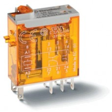 Миниатюрное промышленное электромеханическое реле; монтаж в розетку или наконечники Faston (2.5х0.5мм); 2СO 8A; контакты AgNi; катушка 12В АC; влагозащита RTII; опции: мех.индикатор; упаковка 10 шт.