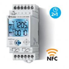 840200240000PAS, Электронный таймер мультифункциональный (25 функций); 2 независимых канала 1CO+1CO (16A); питание 12…24В АС/DC; дисплей с подсветкой; два режима программирования: NFC или классический; регулировка времени от 0.1с. до 9999ч.; упаковка 1шт