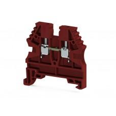304124RP, Клеммник на DIN-рейку 2,5мм.кв. (красный); AVK2,5(RP) (упак 100 шт)