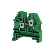 304142, Клеммник на DIN-рейку 6мм.кв. (зеленый); AVK6 (упак 100 шт)