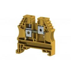 304153, Клеммник на DIN-рейку 10мм.кв. (желтый); AVK10 (упак 100 шт)