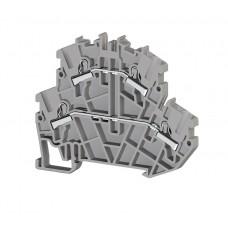 307179, Клеммник 2-х ярусный пружинный быстрозажимной (Push in), 2,5 мм.кв. (серый); PYK2,5-2F (упак 40 шт)