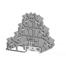 307209, Клеммник пружинный быстрозажимной (Push in) 3-х ярусный, с конт. на DIN-рейку, 2,5 мм.кв., (серый); PYK2,5-3FT  (упак 30 шт)