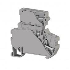 307249, Клеммник пружинный быстрозажимной (Push in) с держателем предохранителя(5х20), 4 мм.кв., (серый); PYK 4S (5x20) (упак 15 шт)