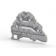 316109, Клеммник 2-х ярусный пружинный, 2,5 мм.кв. (серый); YBK2,5-2F (упак 30 шт)