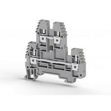 317229, Клеммник 2-х ярусный, 2,5 мм.кв., с диодом, (серый);  PIK2,5ND-B (упак 20 шт)
