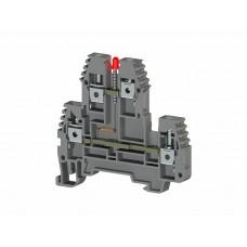 319719, Клеммник 2-х ярусный, 4 мм.кв., с индикацией 220 VAC, (серый); PIK4 NLD 220VAC (упак 20 шт)