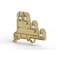 324420, Клеммник 3-х ярусный для датчиков, 2,5мм.кв., с индикацией 24 VDC, (бежевый); PUK 3 SLD (PNP) (упак 20 шт)