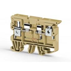 351610, Клеммник с держ. предохр. (5х20, 5х25) с индикацией 220VAC на DIN-рейку, 6 мм.кв. (бежевый);  ASK 2LD (220 VAC) (упак 25 шт)