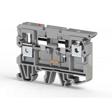 351619, Клеммник с держателем предохранителя (5х20, 5х25) с индикацией 220VAC на DIN-рейку, 6 мм.кв. (серый); ASK 2LD (220 VAC) (упак 25 шт)