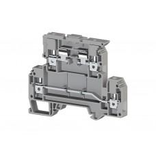 353309, Клеммник 2-х ярусный с держателем предохранителя (5х20, 5х25) на DIN-рейку, 4 мм.кв., (серый); AVK 4FS (упак 50 шт)