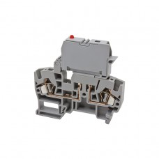 355720, Клеммник пружинный с держ. предохр. (5х20, 5х25), откид.картридж, с индикацией 24VDC, на DIN-рейку, 4 мм.кв., (бежевый); YBK SLD 24VDC  (упак 20 шт)